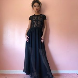 Nasty Gal Black Lace Cage Maxi Dress